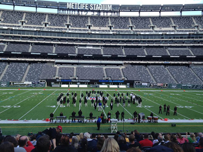 Seneca Golden Eagles Marching Band ready to perform at MetLife Stadium.